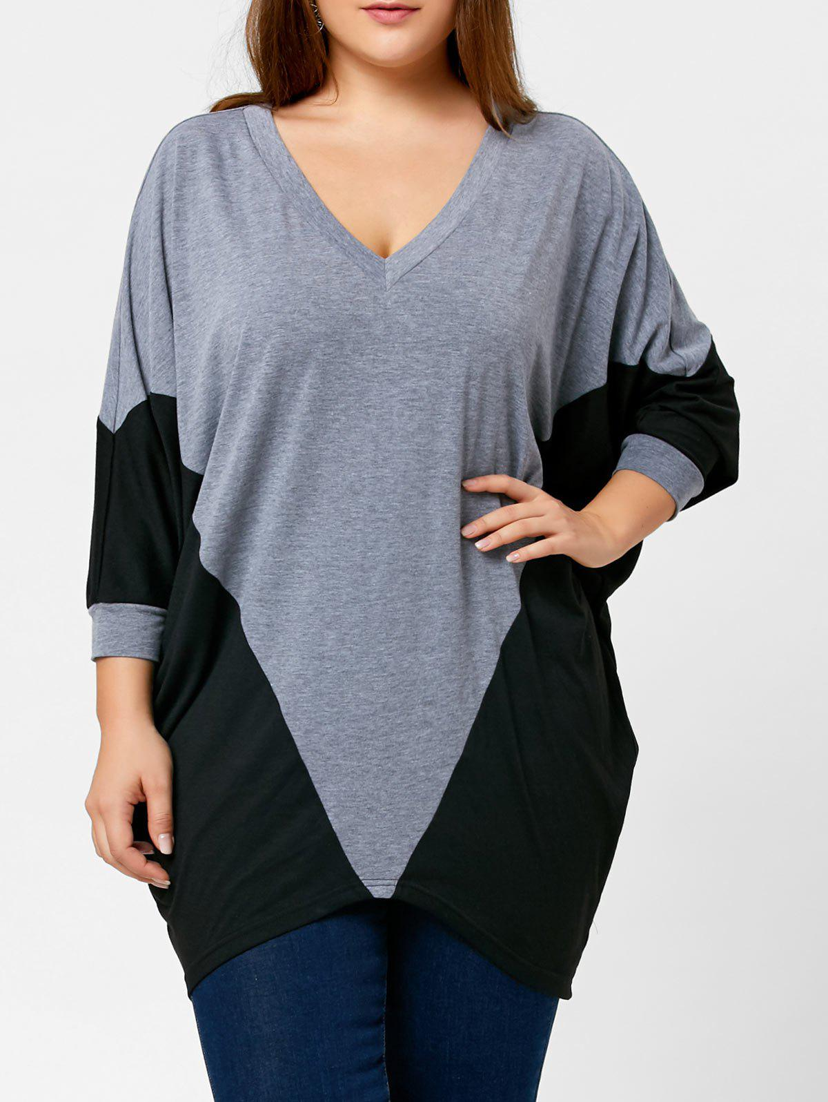 Two Tone Plus Size Dolman Sleeve TopWOMEN<br><br>Size: XL; Color: BLACK AND GREY; Material: Polyester,Spandex; Shirt Length: Long; Sleeve Length: Three Quarter; Collar: V-Neck; Style: Casual; Season: Fall,Spring; Pattern Type: Others; Weight: 0.3750kg; Package Contents: 1 x Top;
