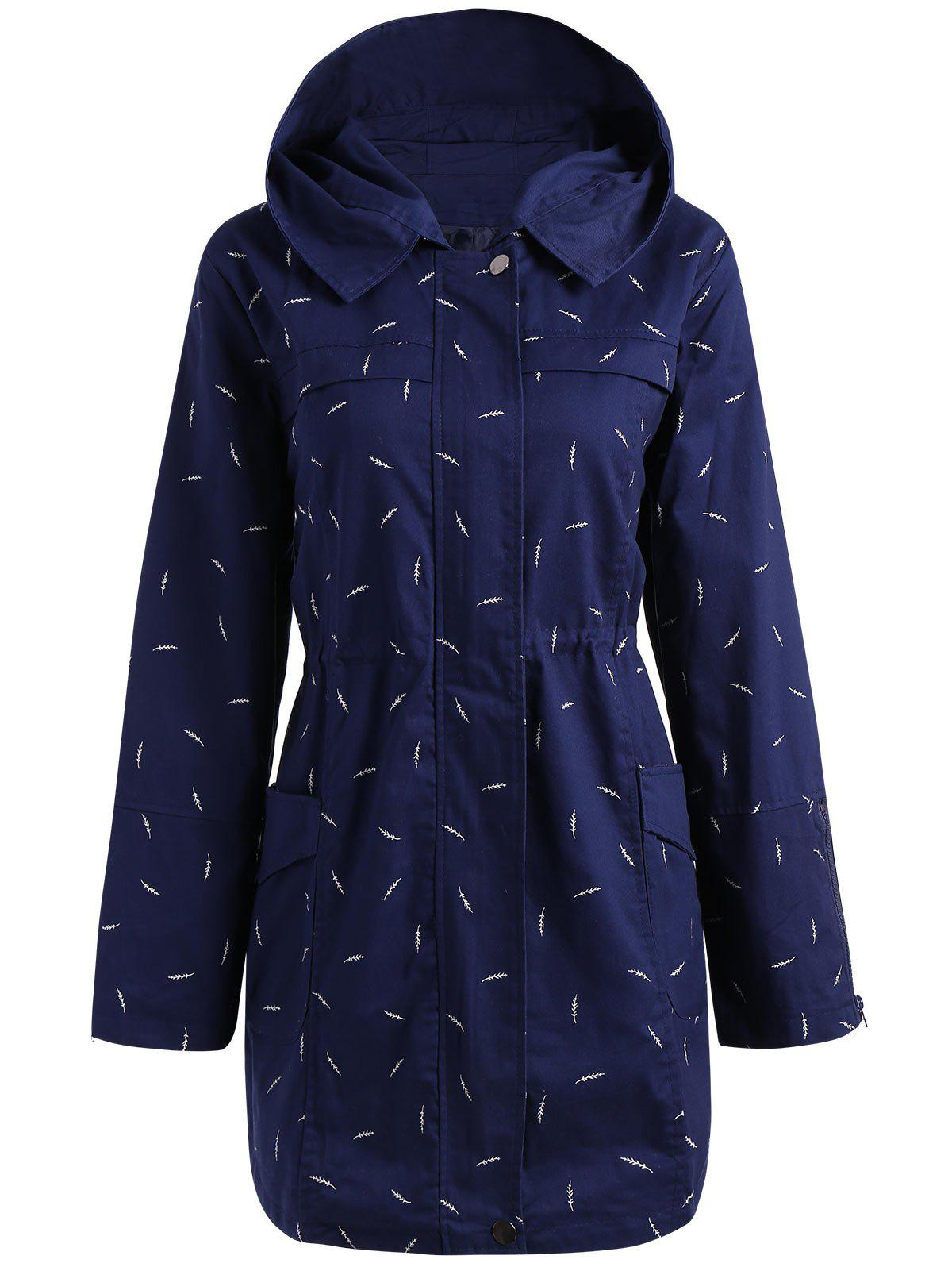 Plus Size Pocket Hooded Printed JacketWOMEN<br><br>Size: 5XL; Color: BLUE; Clothes Type: Jackets; Material: Cotton,Polyester; Type: Slim; Shirt Length: Long; Sleeve Length: Full; Collar: Hooded; Closure Type: Zipper; Pattern Type: Print; Style: Casual; Season: Fall; Weight: 0.5000kg; Package Contents: 1 x Jacket;