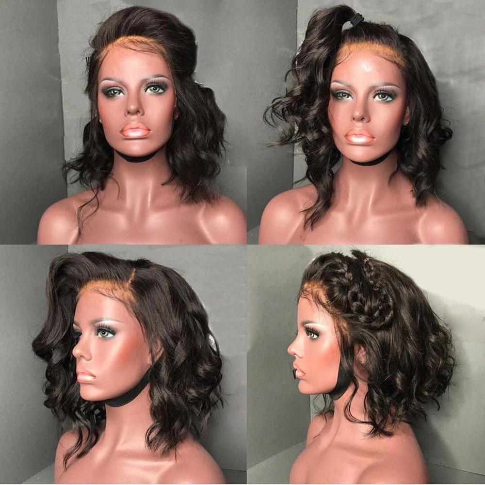 Short Fluffy Free Part Body Wave Lace Front Human Hair Wig