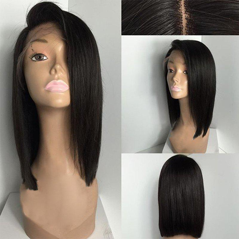 Deep Side Part Medium Straight Bob Lace Front Human Hair WigHAIR<br><br>Color: NATURAL BLACK; Type: Full Wigs; Cap Construction: Lace Front; Style: Straight; Cap Size: Average; Material: Human Hair; Bang Type: Side; Length: Medium; Lace Wigs Type: Lace Front Wigs; Occasion: Daily; Density: 130%; Length Size(Inch): 10; Weight: 0.1200kg; Package Contents: 1 x Wig;