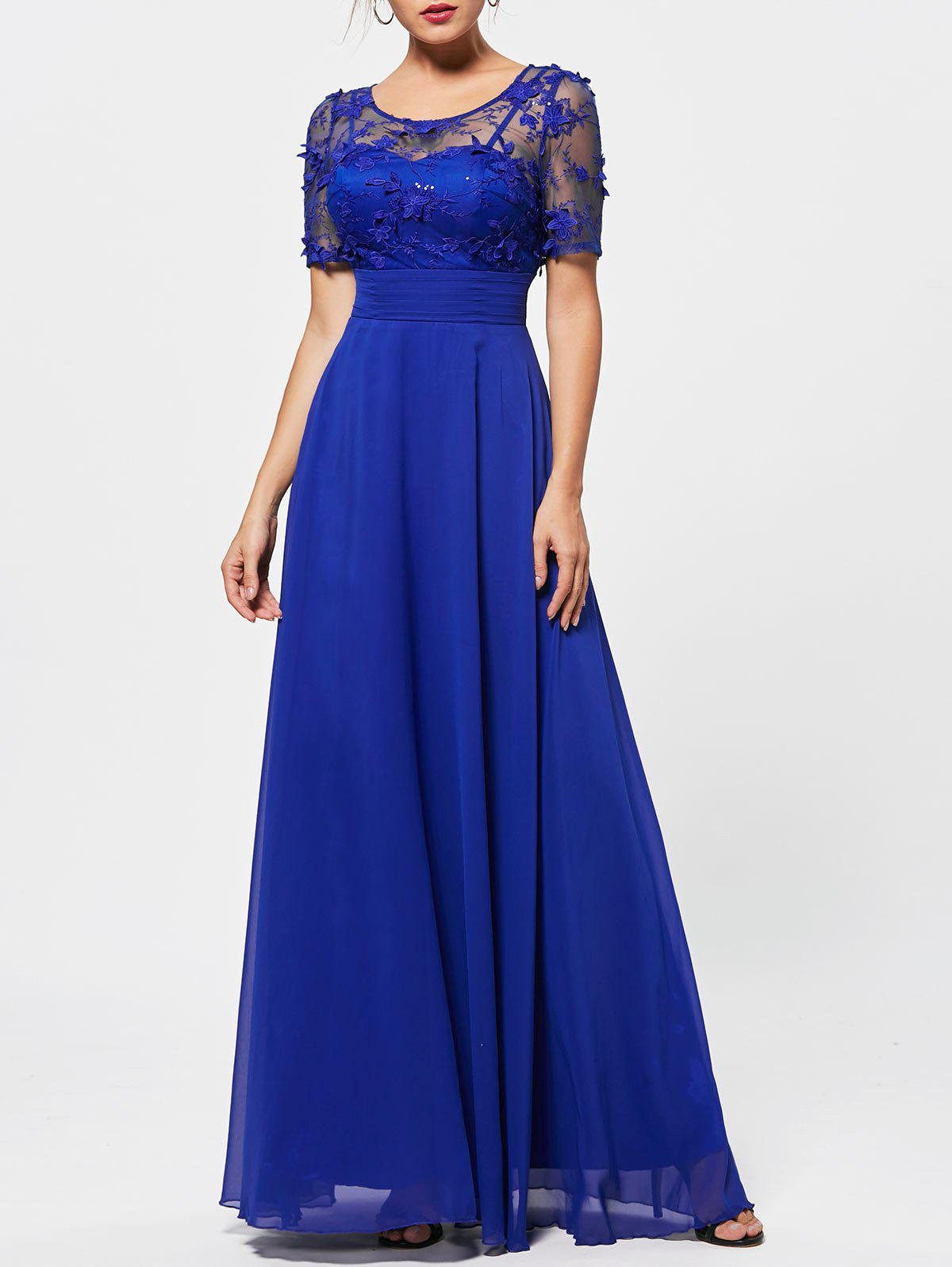 Floral Lace See Thru Empire Waist Evening DressWOMEN<br><br>Size: XL; Color: BLUE; Image Source: Actual Images; Silhouette: A-Line; Dresses Length: Floor-Length; Embellishment: Lace; Neckline: Jewel Neck; Sleeve Length: Short Sleeves; Waist: Empire; Material: Cotton,Polyester; Season: Fall; Body Shape: Misses; Weight: 0.5700kg; Package Contents: 1 x Dress;