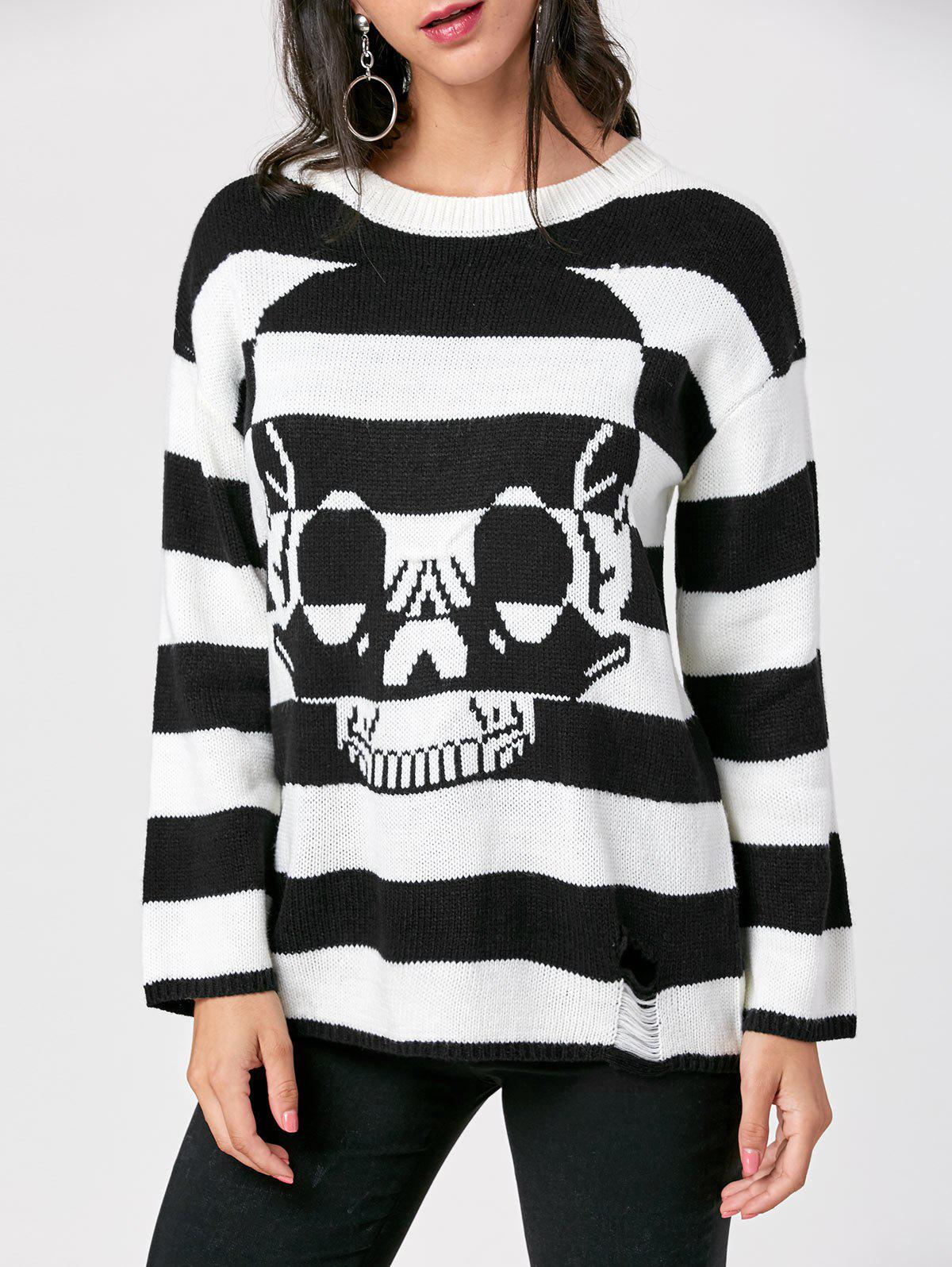 Monochrome Skull Striped SweaterWOMEN<br><br>Size: 2XL; Color: BLACK STRIPE; Type: Pullovers; Material: Acrylic; Sleeve Length: Full; Collar: Crew Neck; Style: Casual; Pattern Type: Striped; Season: Fall,Spring,Winter; Weight: 0.3900kg; Package Contents: 1 x Sweater;