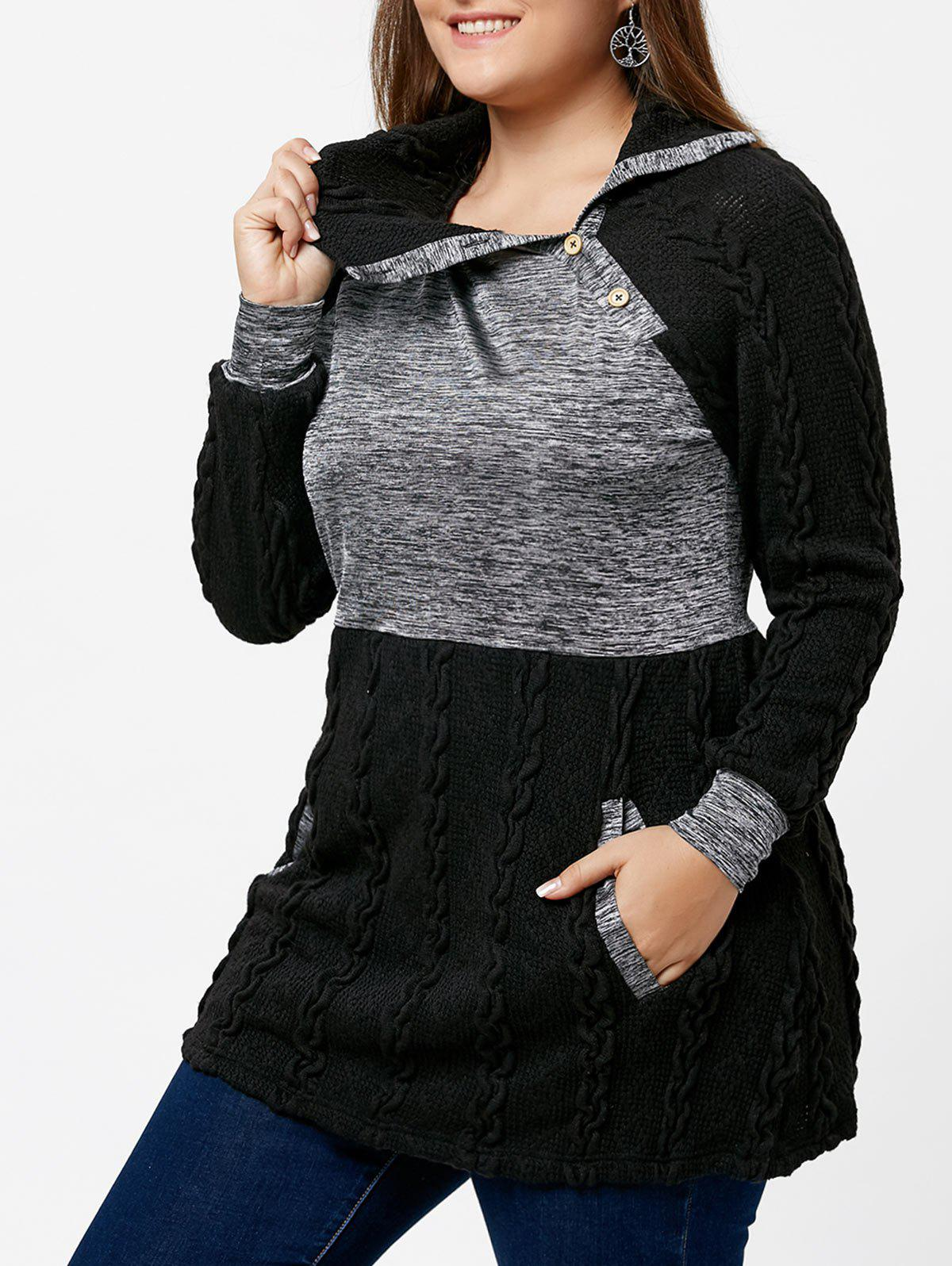 Plus Size Pullover Pockets Cable Knit SweaterWOMEN<br><br>Size: XL; Color: BLACK; Type: Pullovers; Material: Polyester,Spandex; Sleeve Length: Full; Collar: Turn-down Collar; Technics: Computer Knitted; Style: Casual; Season: Fall,Spring,Winter; Pattern Type: Others; Weight: 0.5000kg; Package Contents: 1 x Sweater;
