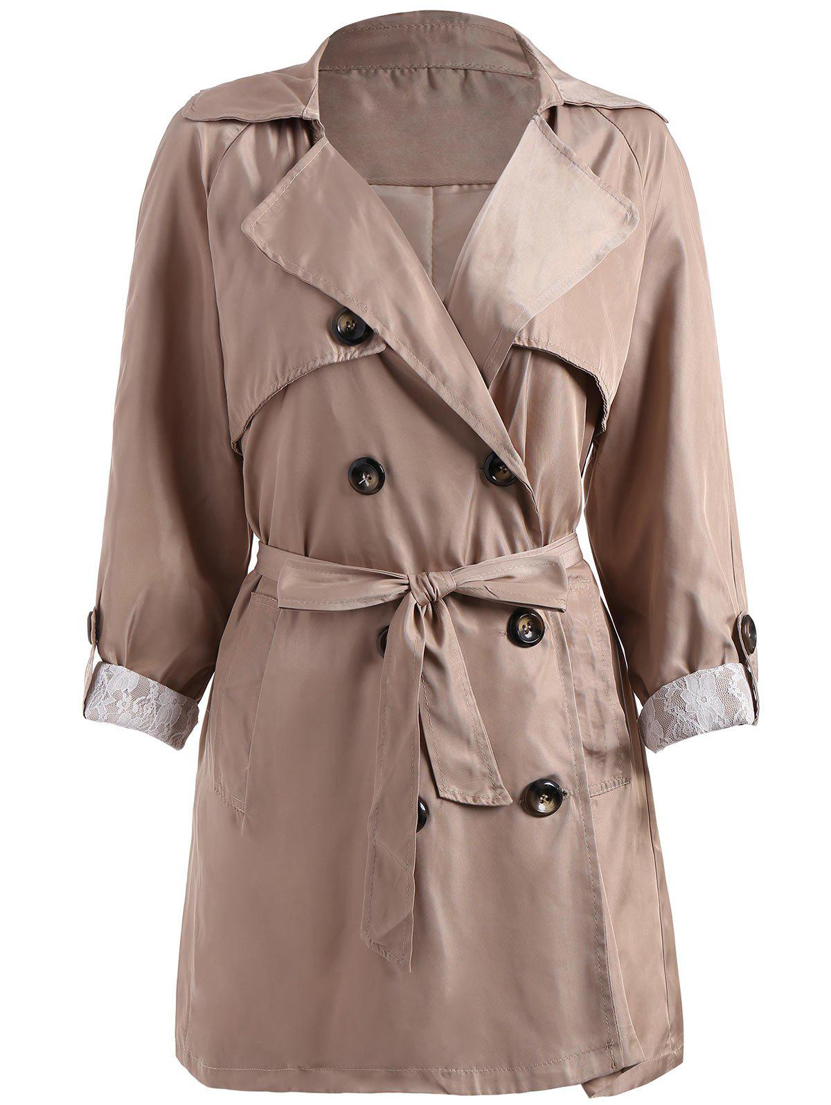 Fashion Double Breasted Lapel Plus Size Trench Coat