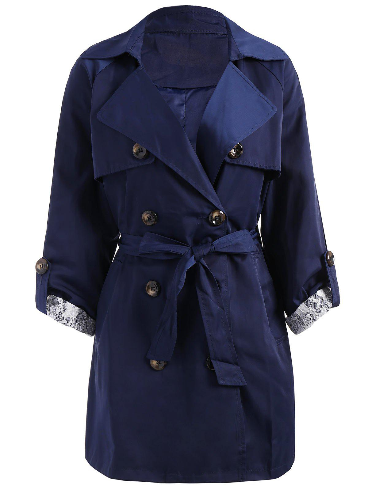 Double Breasted Lapel Plus Size Trench CoatWOMEN<br><br>Size: 4XL; Color: DEEP BLUE; Clothes Type: Trench; Material: Polyester; Type: Wide-waisted; Shirt Length: Long; Sleeve Length: Full; Collar: Lapel; Pattern Type: Solid; Style: Fashion; Season: Fall,Winter; Weight: 0.6700kg; Package Contents: 1 x Coat  1 x Belt;