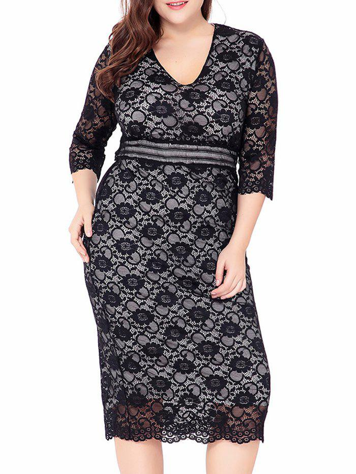 V Neck Plus Size Midi Lace Sheath DressWOMEN<br><br>Size: 2XL; Color: BLACK; Style: Club; Material: Cotton Blend,Polyester; Silhouette: Sheath; Dresses Length: Mid-Calf; Neckline: V-Neck; Sleeve Length: 3/4 Length Sleeves; Waist: Empire; Embellishment: Hollow Out,Lace; Pattern Type: Solid Color; With Belt: No; Season: Fall,Winter; Weight: 0.4300kg; Package Contents: 1 x Dress;