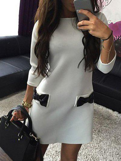 Chic Shift Dress with Bowknot Pocket