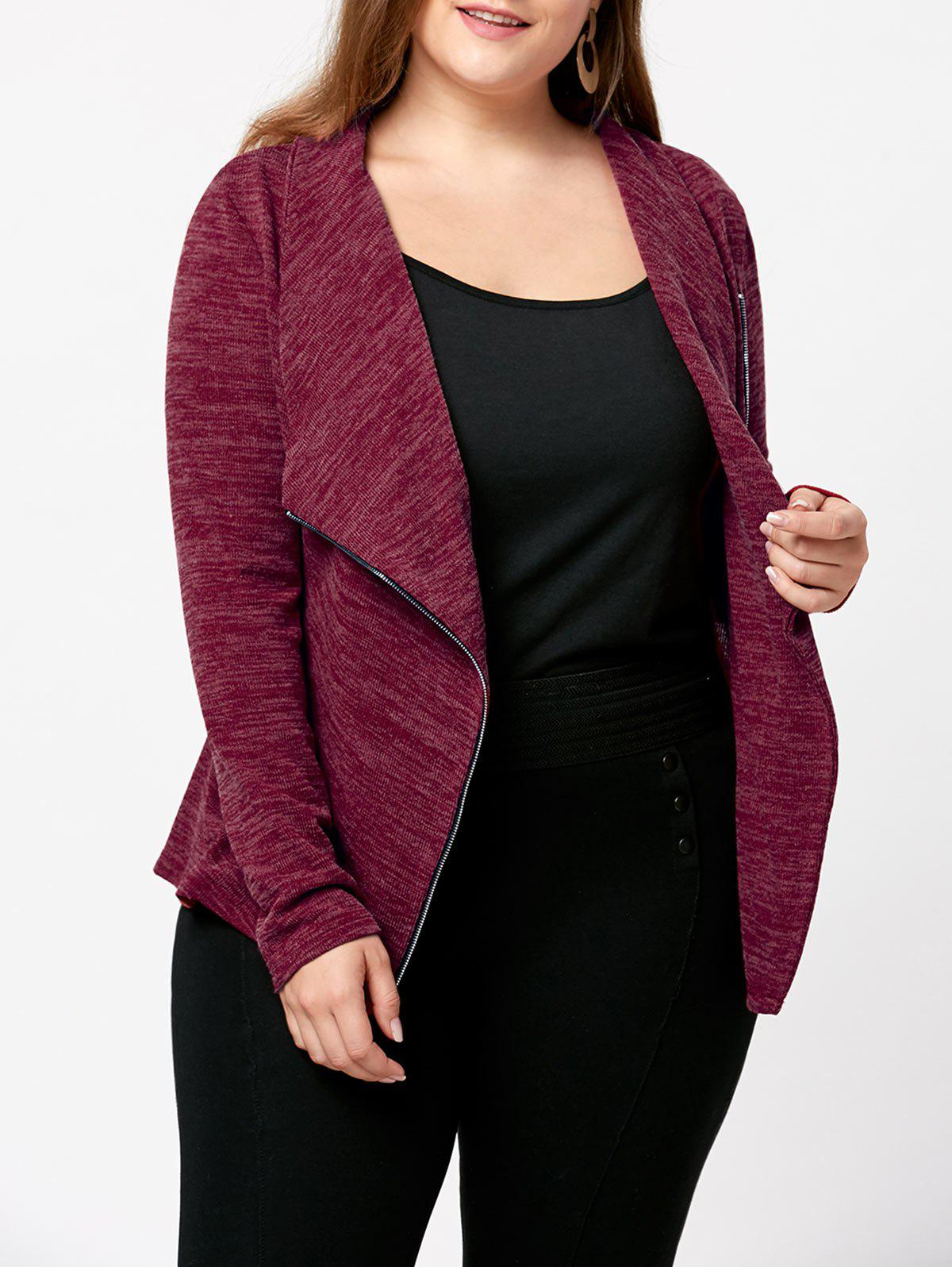 Store Plus Size Marled Zipper Up Cardigan