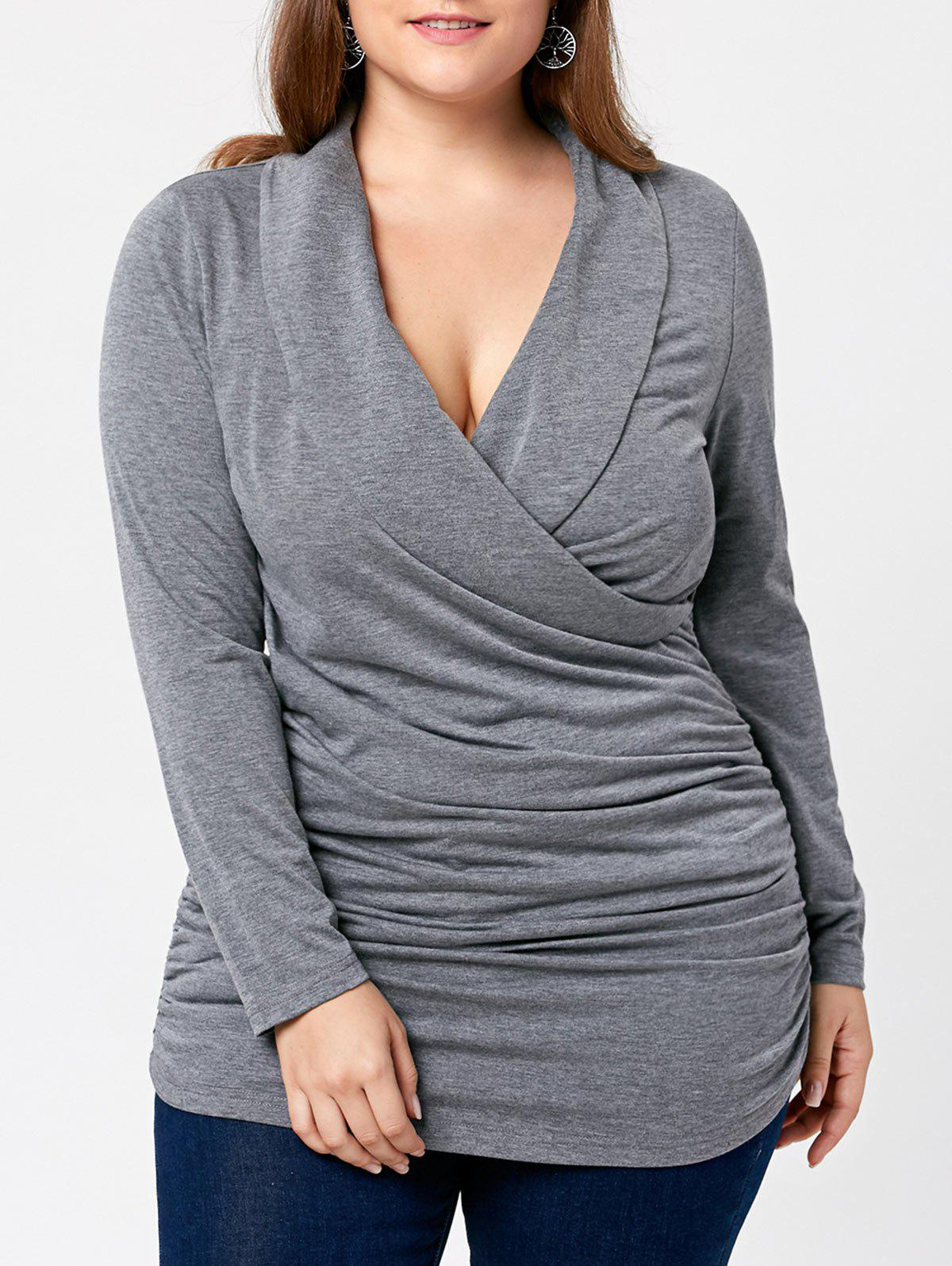 Plus Size Plunging Neck Surplice Ruched TopWOMEN<br><br>Size: 5XL; Color: GRAY; Material: Cotton,Polyester; Shirt Length: Long; Sleeve Length: Full; Collar: Plunging Neck; Style: Casual; Season: Fall,Spring; Embellishment: Ruched; Pattern Type: Solid; Weight: 0.4000kg; Package Contents: 1 x T-shirt;