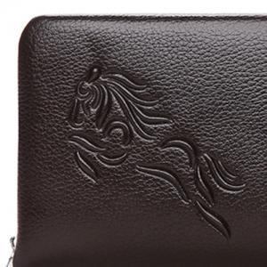 Zipper Around Embossed Wallet - DEEP BROWN