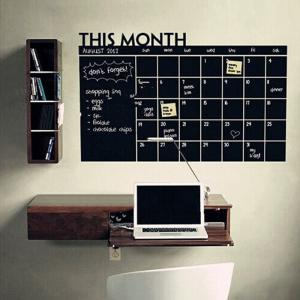 Blackboard Calendrier Record Imprimé Wall Art Sticker - Noir
