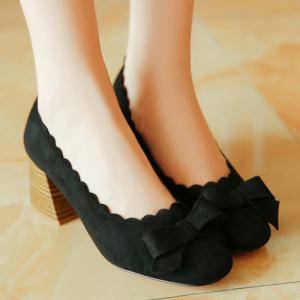 Scalloped Bow Chunky Heel Pumps - BLACK 39