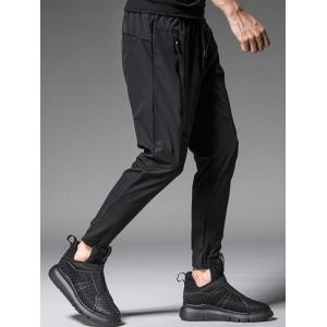 Drawstring Waist Faux Zip Pocket Joggers - BLACK XL