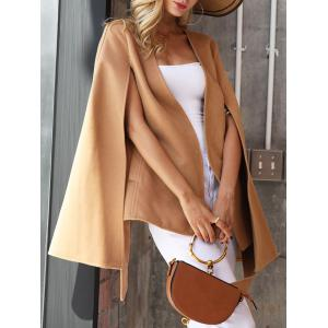 Split Wool Blend Poncho Wrap Coat - CAMEL 2XL