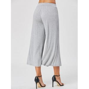 High Waisted Wide Leg Ninth Pants - GRAY M