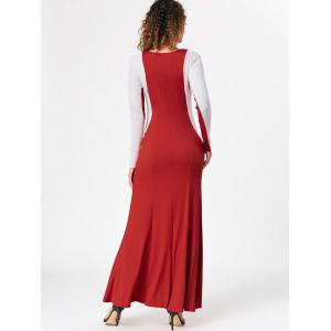 Maxi Two Tone Long Sleeve Evening Dress - RED XL