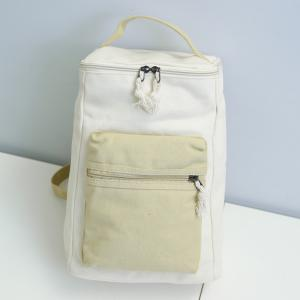Canvas Colour Block Zippers Backpack - LIGHT KHAKI