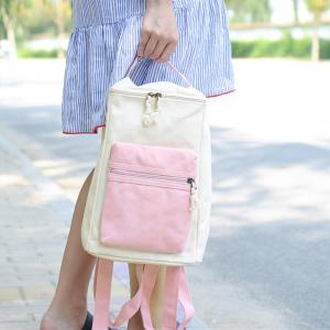 Canvas Colour Block Zippers Backpack -