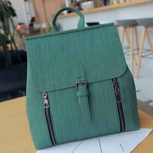 Buckle Strap Double Zippers Backpack - GREEN