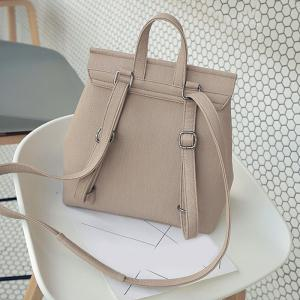 Buckle Strap Double Zippers Backpack - LIGHT KHAKI