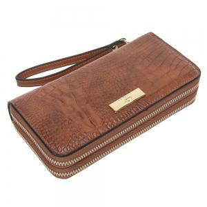 Embossing Leather Double Zippers Wristlet Wallet - BROWN HORIZONTAL