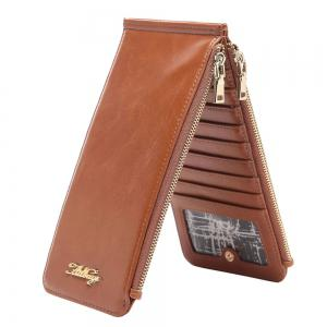 Zip Faux Leather Wallet - Brun Vertical