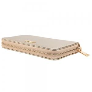 Letter Faux Leather Zipper Around Clutch Wallet -