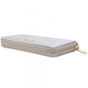 Letter Faux Leather Zipper Around Clutch Wallet - SILVER HORIZONTAL