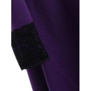 High Low Hooded Plus Size Lace-up Coat - PURPLE 5XL