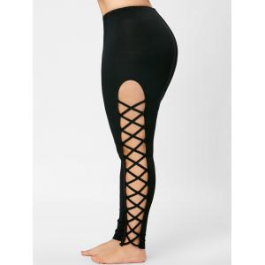 Skinny Plus Size Cut Out Lattice Leggings - Noir XL