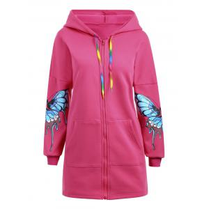 Plus Size Butterfly Printed Zip Up Hooded Coat -