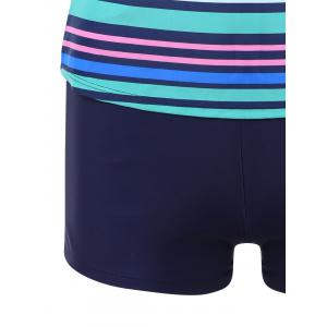 Striped Boyshorts Cami Tankini Set - COLORMIX 2XL