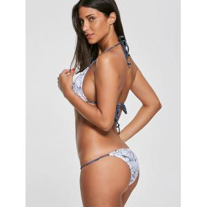 Print Braided Straps Halter Bikini Set - WHITE M