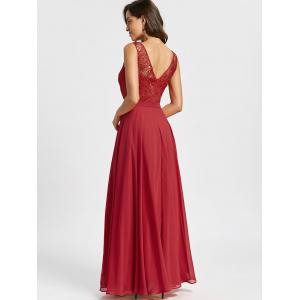 Sleeveless Lace Panel Evening Dress - RED L