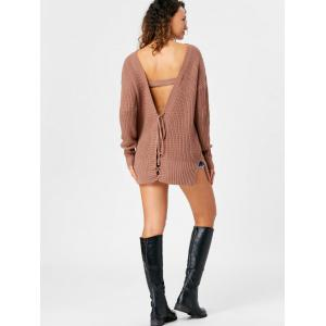 Lace Up Open Back Sweater - LIGHT COFFEE M
