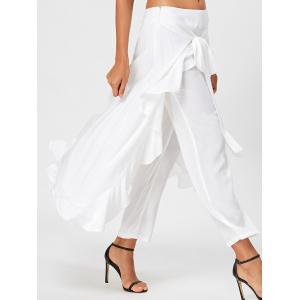 Ruffle Tie Front Flowy Skirted Pants - WHITE M