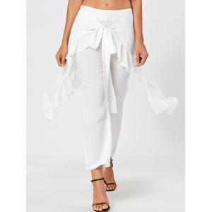 Ruffle Tie Front Flowy Skirted Pants - WHITE L