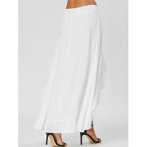 Ruffle Tie Front Flowy Skirted Pants - WHITE XL