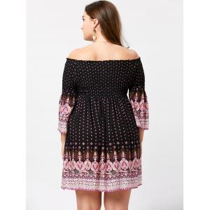 Plus Size Indian Print Off The Shoulder Dress -