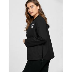Plus Size Pocket Embroidered Zipper Jacket -