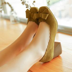 Scalloped Bow Chunky Heel Pumps -