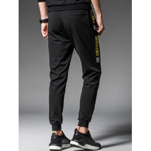 Graphic Ribbon Insert Drawstring Jogger Pants -
