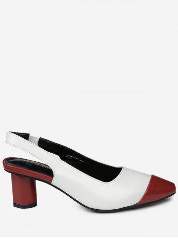 Discount Slingback Color Block Pumps RED 37