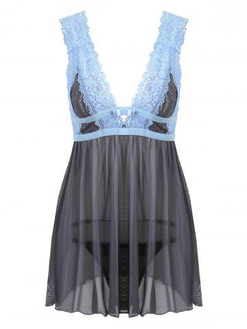 Sale Low Cut Lace Sheer Backless Babydoll GRAY S
