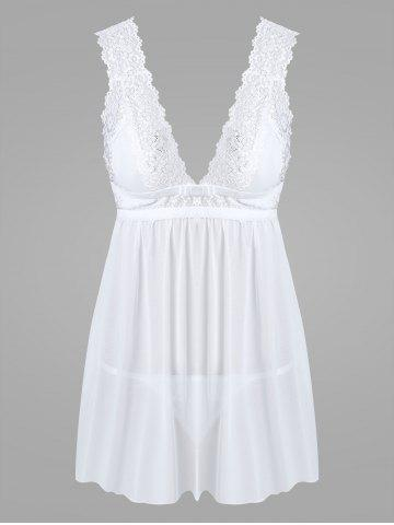 Trendy Lace Low Cut Mesh Sheer Babydoll - ONE SIZE WHITE Mobile