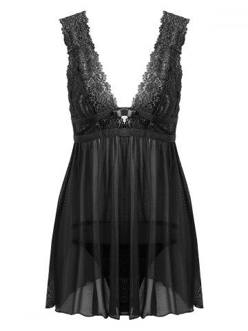 Chic Lace Low Cut Mesh Sheer Babydoll - ONE SIZE BLACK Mobile