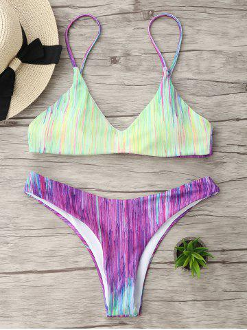 Shop Spaghetti Strap Tie Dye Bikini Swimwear - XL COLORMIX Mobile