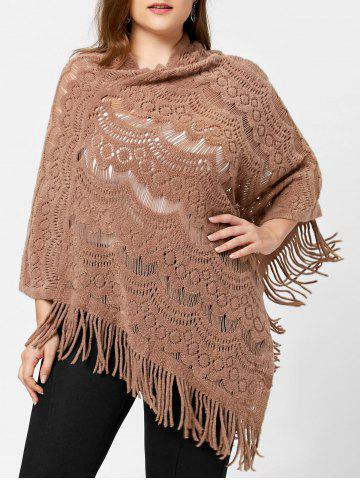 Trendy Plus Size Hollow Out Sweater - ONE SIZE CAMEL Mobile