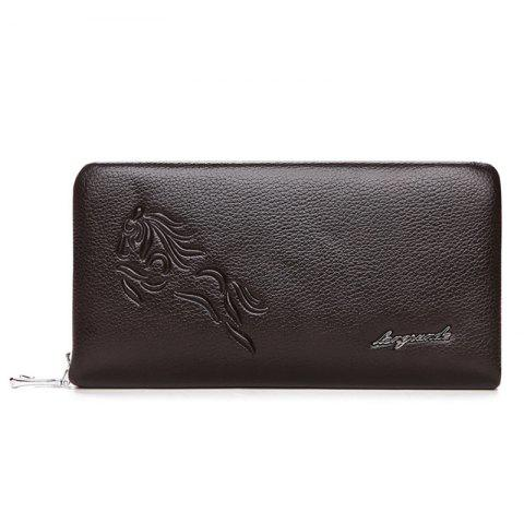 Store Zipper Around Embossed Wallet DEEP BROWN