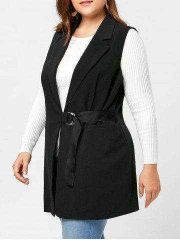 Chic Plus Size Lapel Wrap Waistcoat - 3XL BLACK Mobile